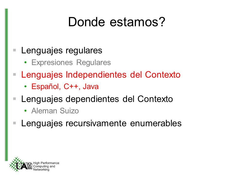 Donde estamos? Lenguajes regulares Expresiones Regulares Lenguajes Independientes del Contexto Español, C++, Java Lenguajes dependientes del Contexto