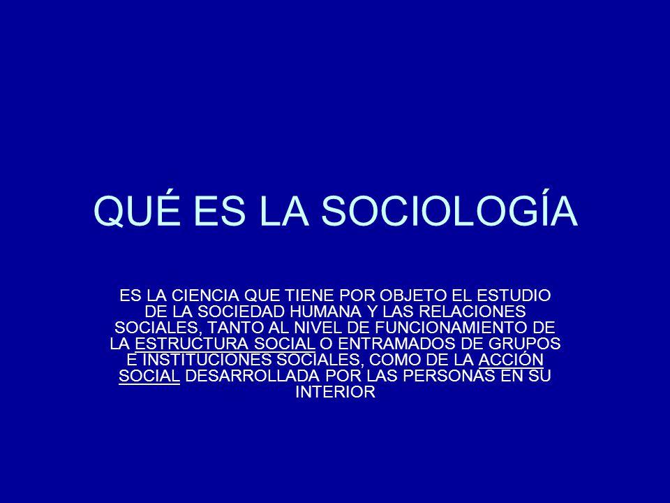 QUÉ ES LA SOCIOLOGÍA ES LA CIENCIA QUE TIENE POR OBJETO EL ESTUDIO DE LA SOCIEDAD HUMANA Y LAS RELACIONES SOCIALES, TANTO AL NIVEL DE FUNCIONAMIENTO D