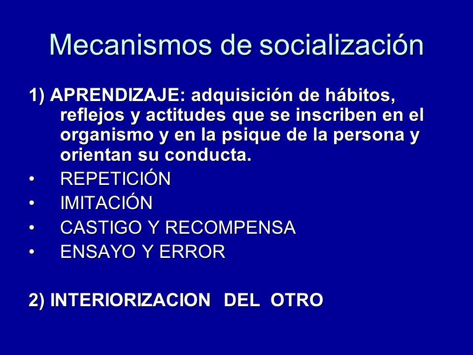 Mecanismos de socialización 1) APRENDIZAJE: adquisición de hábitos, reflejos y actitudes que se inscriben en el organismo y en la psique de la persona