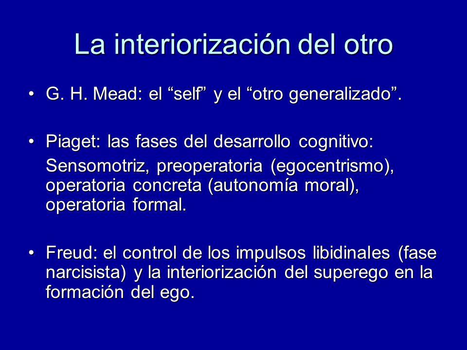 La interiorización del otro G. H. Mead: el self y el otro generalizado.G. H. Mead: el self y el otro generalizado. Piaget: las fases del desarrollo co