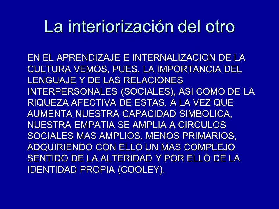 La interiorización del otro EN EL APRENDIZAJE E INTERNALIZACION DE LA CULTURA VEMOS, PUES, LA IMPORTANCIA DEL LENGUAJE Y DE LAS RELACIONES INTERPERSON
