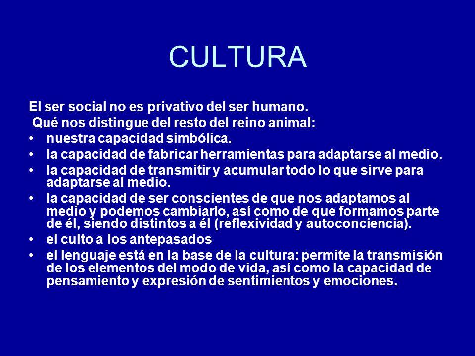 CULTURA El ser social no es privativo del ser humano. Qué nos distingue del resto del reino animal: nuestra capacidad simbólica. la capacidad de fabri