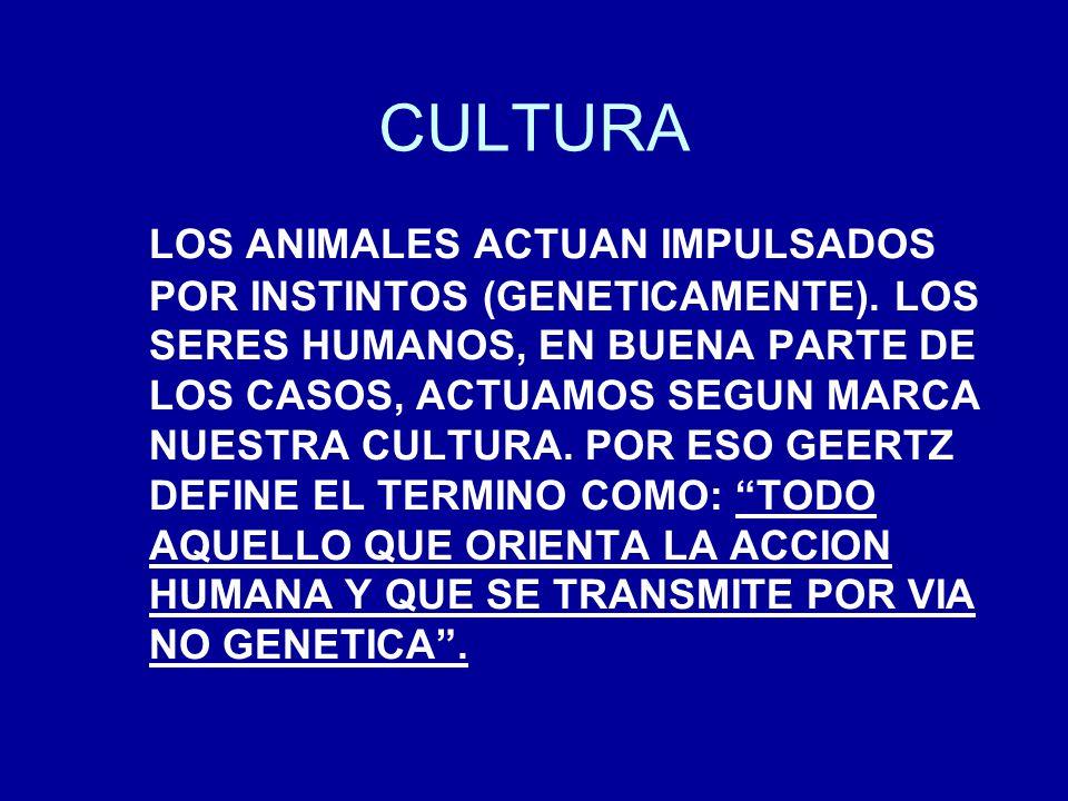CULTURA LOS ANIMALES ACTUAN IMPULSADOS POR INSTINTOS (GENETICAMENTE). LOS SERES HUMANOS, EN BUENA PARTE DE LOS CASOS, ACTUAMOS SEGUN MARCA NUESTRA CUL