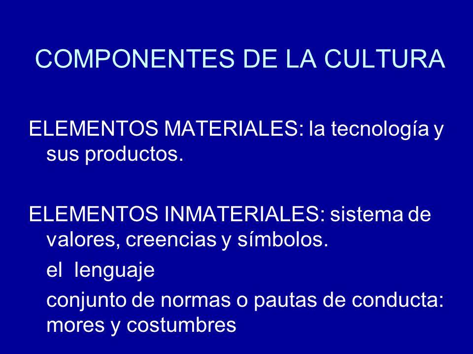 COMPONENTES DE LA CULTURA ELEMENTOS MATERIALES: la tecnología y sus productos. ELEMENTOS INMATERIALES: sistema de valores, creencias y símbolos. el le