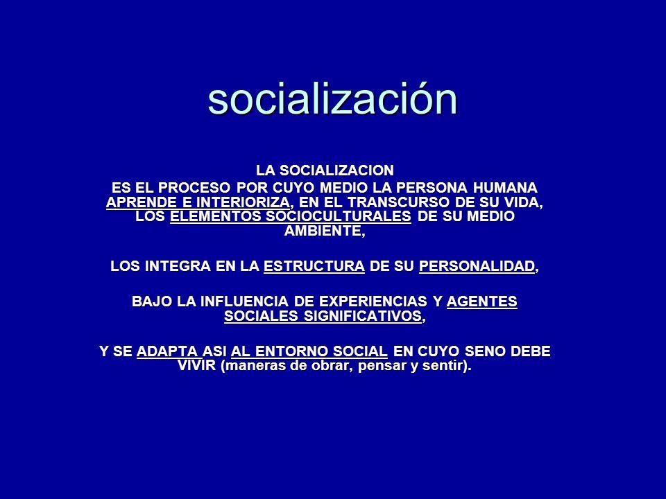socialización LA SOCIALIZACION ES EL PROCESO POR CUYO MEDIO LA PERSONA HUMANA APRENDE E INTERIORIZA, EN EL TRANSCURSO DE SU VIDA, LOS ELEMENTOS SOCIOC