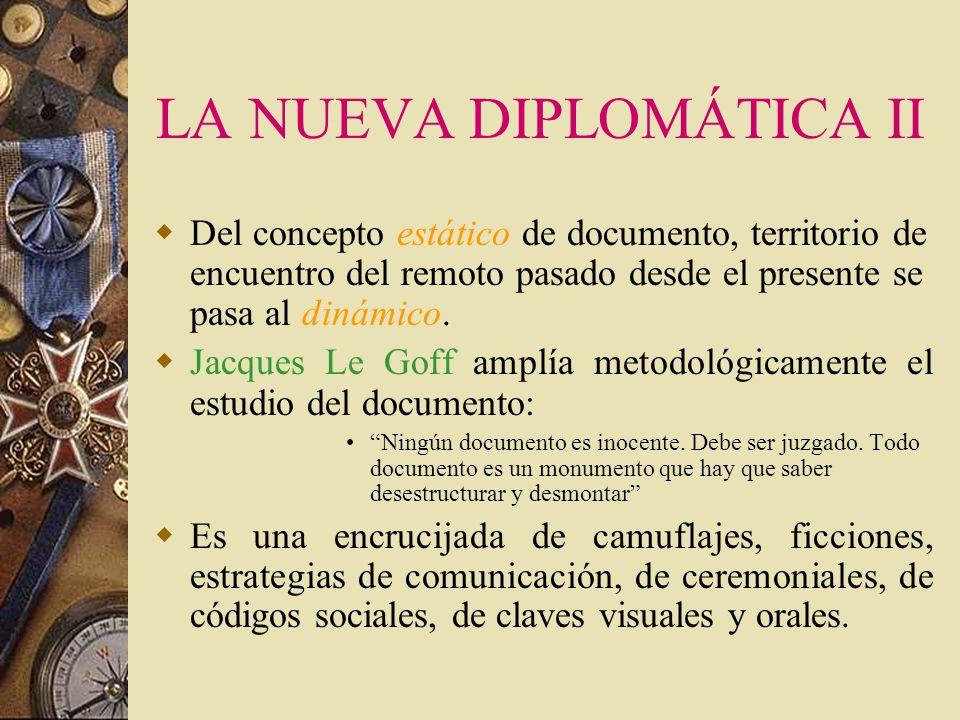 LA NUEVA DIPLOMÁTICA (I) En la segunda mitad del siglo XX, la historiografía se transforma por un nuevo enfoque desarrollado por Ferdinand Braudel. Se