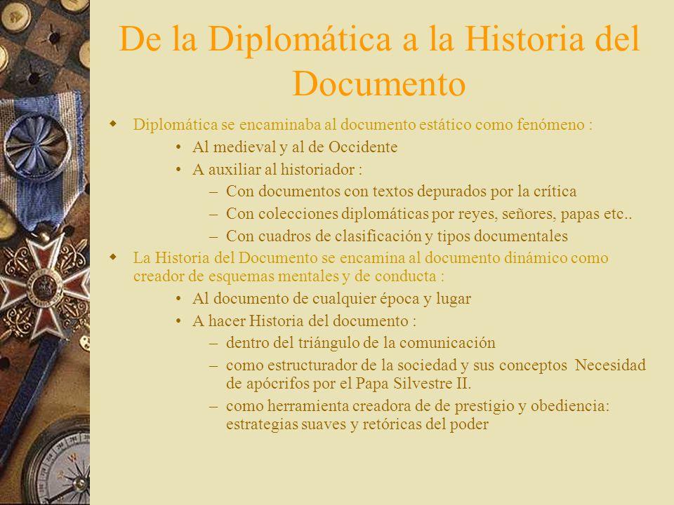 Ampliación Positivista del objeto de la Diplomática C on fines de ayuda a la investigación se amplia: – A– A todos los documentos de archivo –A–A sólo