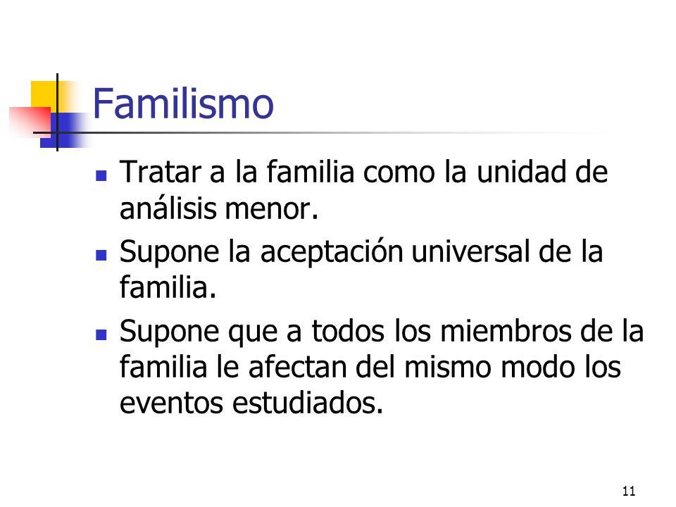 11 Familismo Tratar a la familia como la unidad de análisis menor. Supone la aceptación universal de la familia. Supone que a todos los miembros de la
