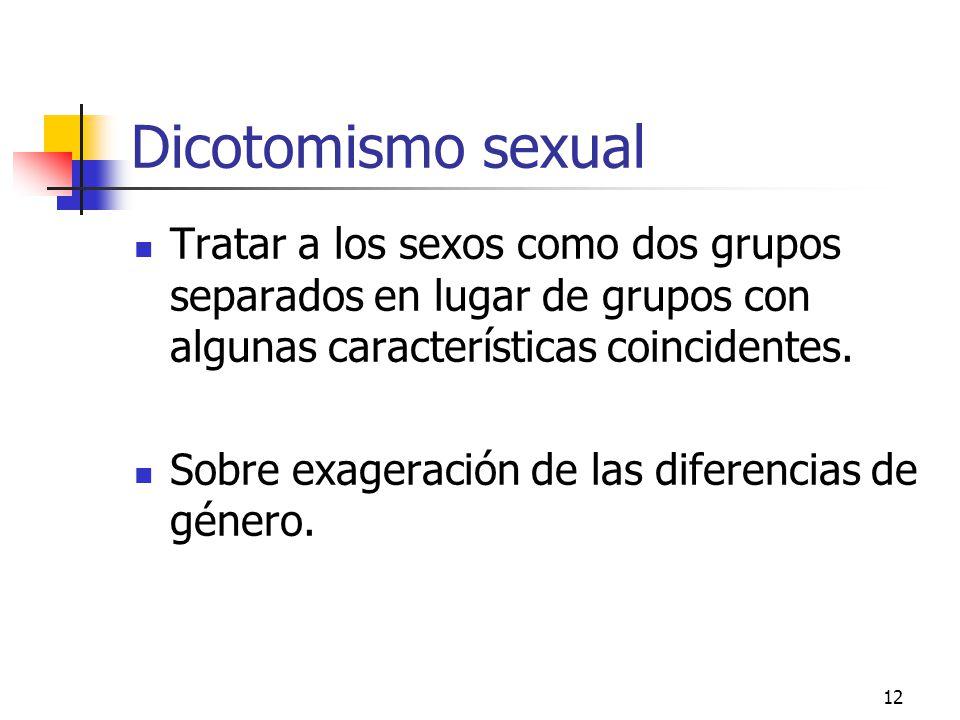 12 Dicotomismo sexual Tratar a los sexos como dos grupos separados en lugar de grupos con algunas características coincidentes. Sobre exageración de l