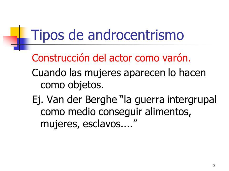3 Tipos de androcentrismo Construcción del actor como varón. Cuando las mujeres aparecen lo hacen como objetos. Ej. Van der Berghe la guerra intergrup