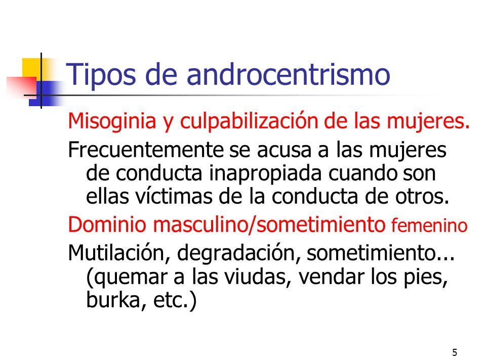 5 Tipos de androcentrismo Misoginia y culpabilización de las mujeres. Frecuentemente se acusa a las mujeres de conducta inapropiada cuando son ellas v