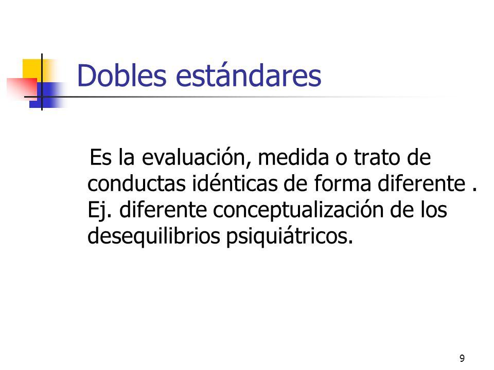 9 Dobles estándares Es la evaluación, medida o trato de conductas idénticas de forma diferente. Ej. diferente conceptualización de los desequilibrios