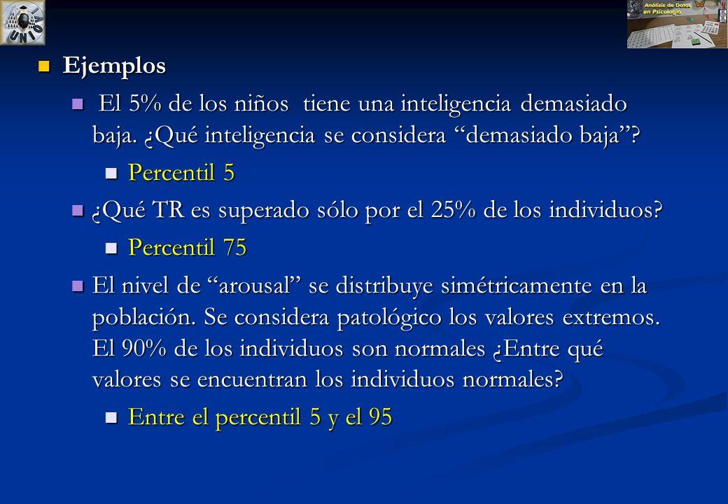 Percentil Cuantil de orden k/100 ( mediana es el percentil 50) Ej.: El percentil de orden 78 deja por debajo al 78% de las observaciones. Por encima q