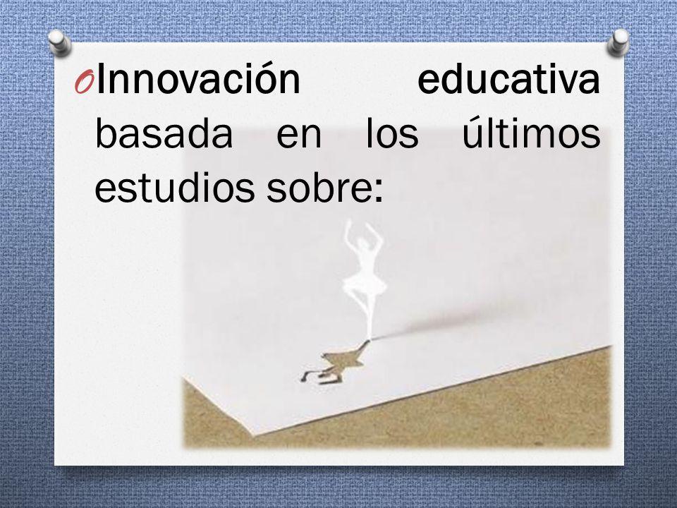 O Innovación educativa basada en los últimos estudios sobre: