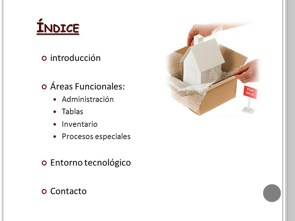introducción Áreas Funcionales: Administración Tablas Inventario Procesos especiales Entorno tecnológico Contacto Í NDICE