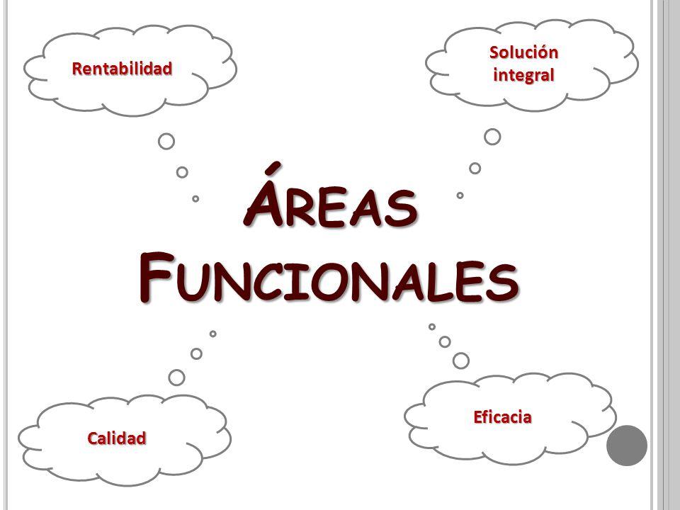 Á REAS F UNCIONALES Solución integral Calidad Eficacia Rentabilidad