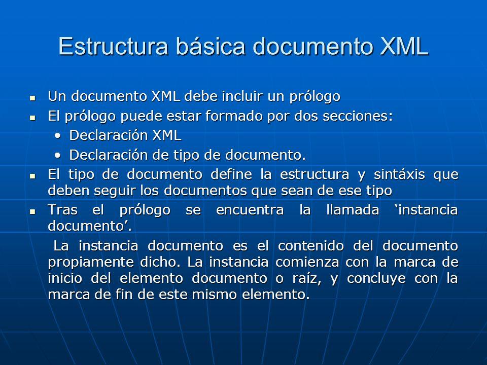 Estructura básica documento XML Un documento XML debe incluir un prólogo Un documento XML debe incluir un prólogo El prólogo puede estar formado por dos secciones: El prólogo puede estar formado por dos secciones: Declaración XMLDeclaración XML Declaración de tipo de documento.Declaración de tipo de documento.