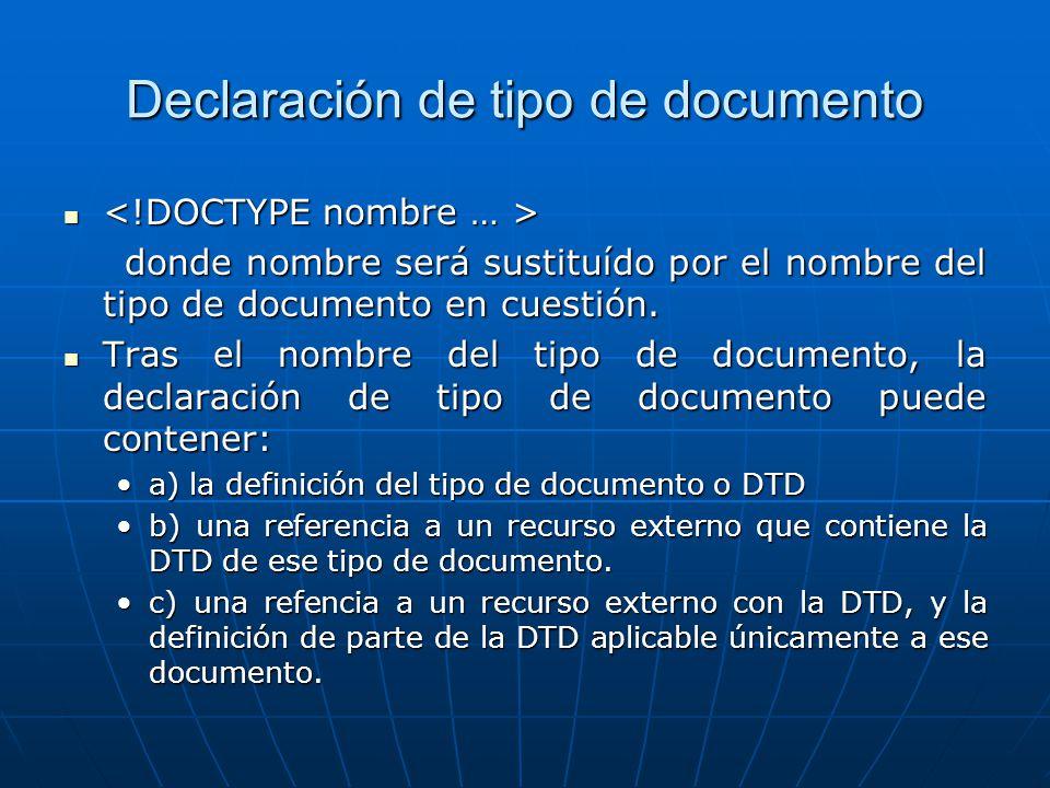 Declaración de tipo de documento donde nombre será sustituído por el nombre del tipo de documento en cuestión. donde nombre será sustituído por el nom