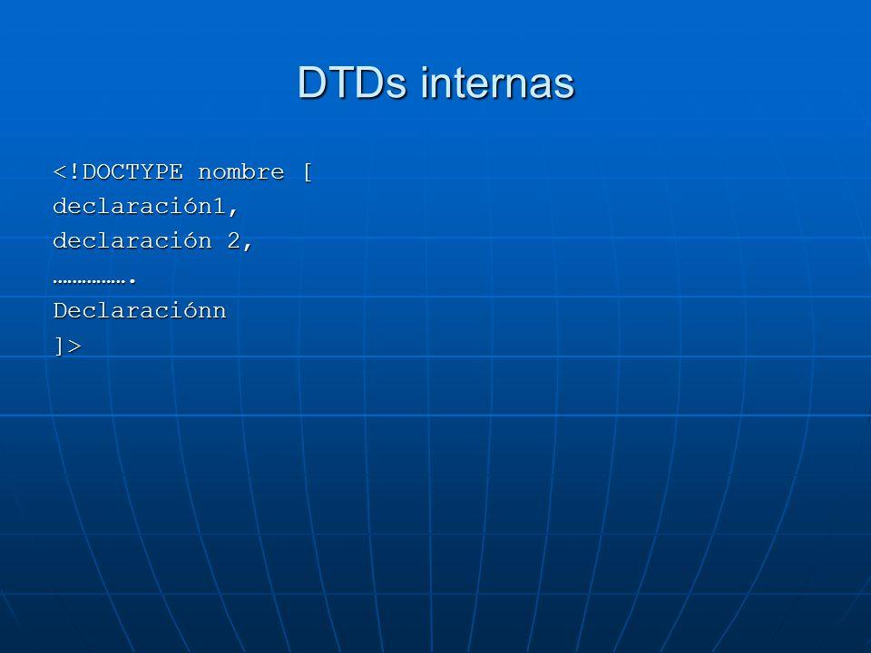 DTDs internas <!DOCTYPE nombre [ declaración1, declaración 2, …………….Declaraciónn]>