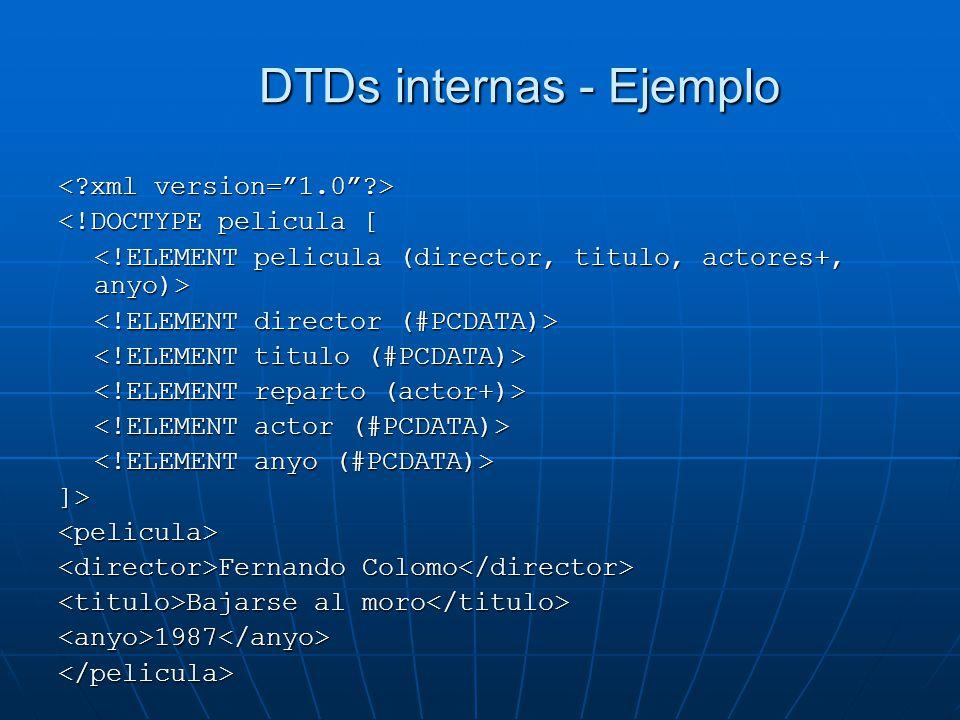 DTDs internas - Ejemplo <!DOCTYPE pelicula [ ]><pelicula> Fernando Colomo Fernando Colomo Bajarse al moro Bajarse al moro <anyo>1987</anyo></pelicula>