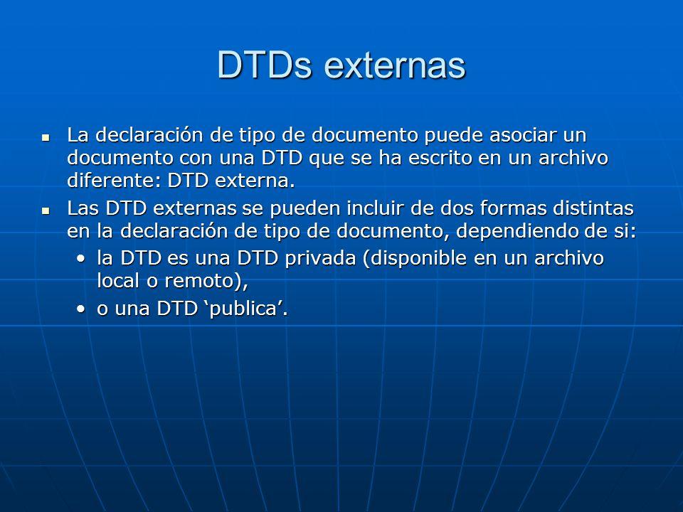 DTDs externas La declaración de tipo de documento puede asociar un documento con una DTD que se ha escrito en un archivo diferente: DTD externa. La de