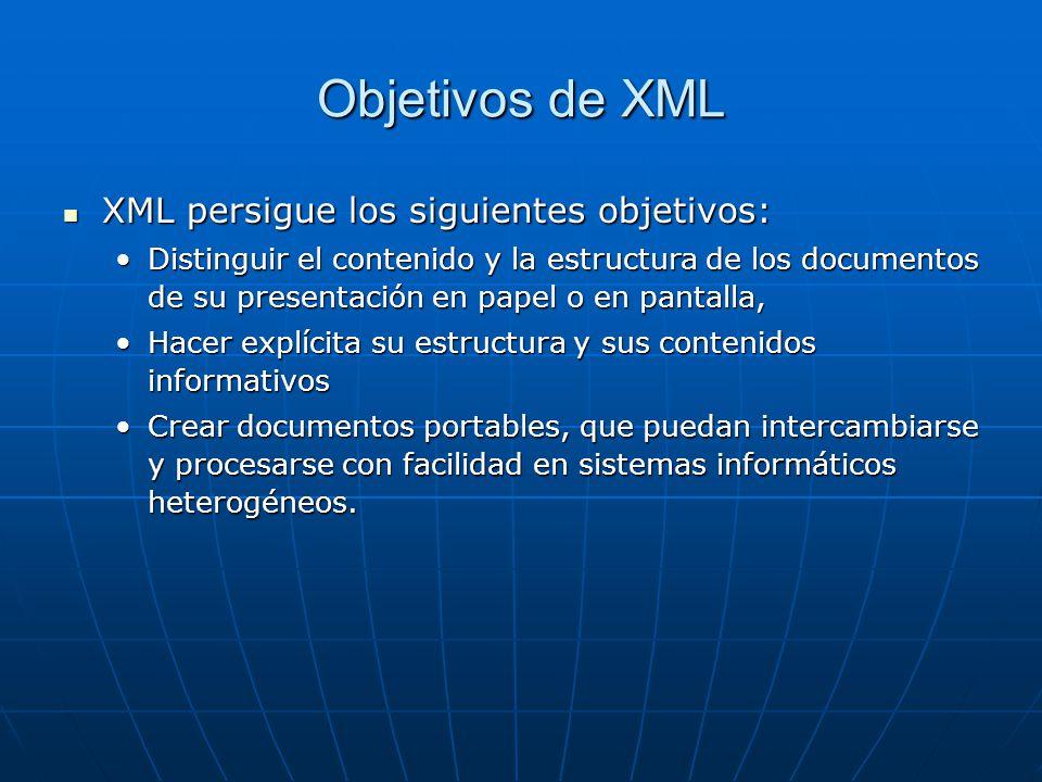 Objetivos de XML XML persigue los siguientes objetivos: XML persigue los siguientes objetivos: Distinguir el contenido y la estructura de los documentos de su presentación en papel o en pantalla,Distinguir el contenido y la estructura de los documentos de su presentación en papel o en pantalla, Hacer explícita su estructura y sus contenidos informativosHacer explícita su estructura y sus contenidos informativos Crear documentos portables, que puedan intercambiarse y procesarse con facilidad en sistemas informáticos heterogéneos.Crear documentos portables, que puedan intercambiarse y procesarse con facilidad en sistemas informáticos heterogéneos.
