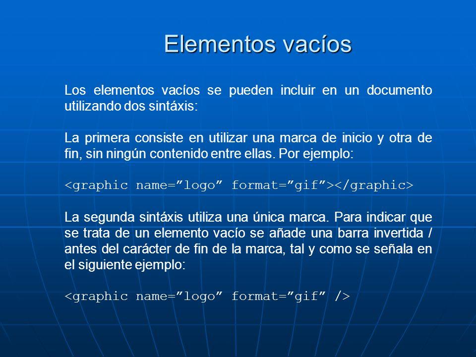 Elementos vacíos Los elementos vacíos se pueden incluir en un documento utilizando dos sintáxis: La primera consiste en utilizar una marca de inicio y otra de fin, sin ningún contenido entre ellas.