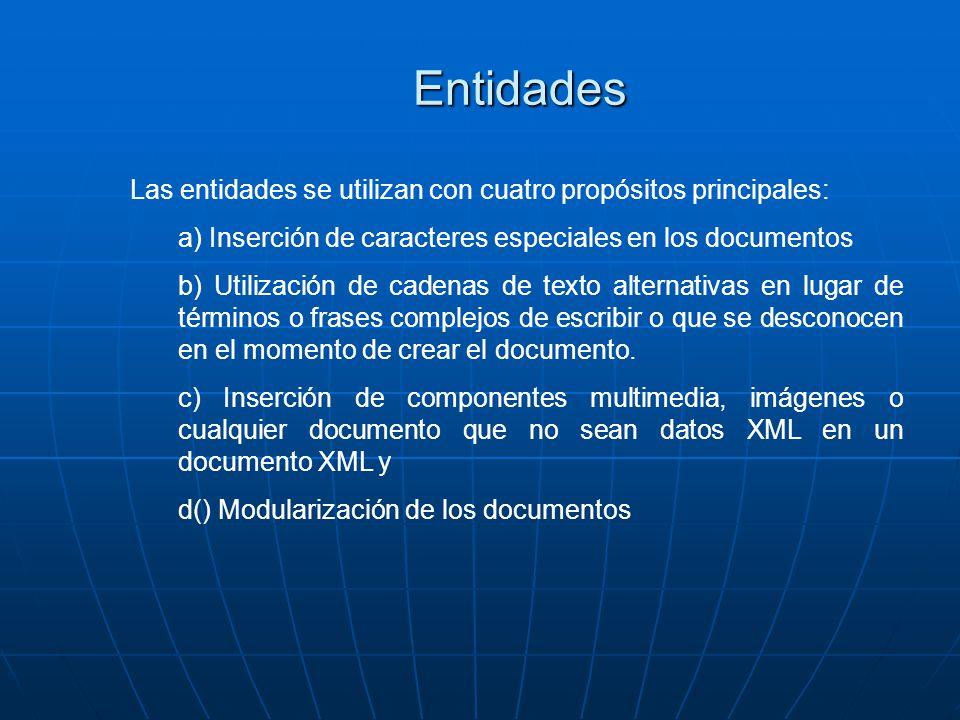 Las entidades se utilizan con cuatro propósitos principales: a) Inserción de caracteres especiales en los documentos b) Utilización de cadenas de texto alternativas en lugar de términos o frases complejos de escribir o que se desconocen en el momento de crear el documento.
