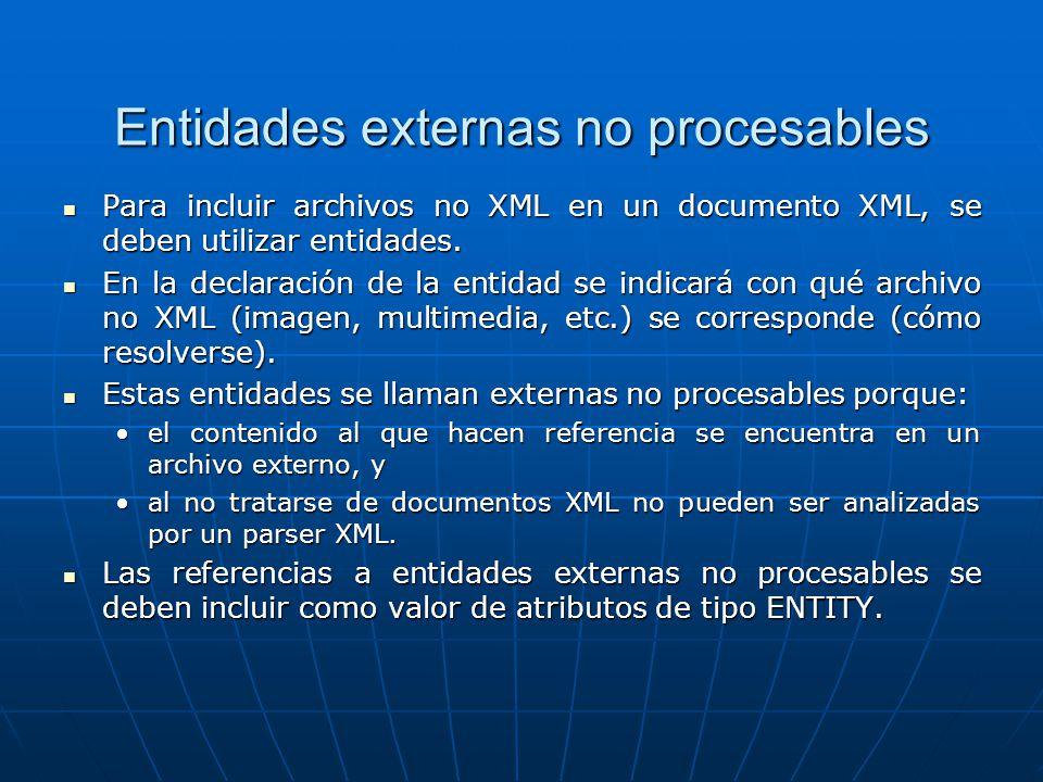 Entidades externas no procesables Para incluir archivos no XML en un documento XML, se deben utilizar entidades. Para incluir archivos no XML en un do