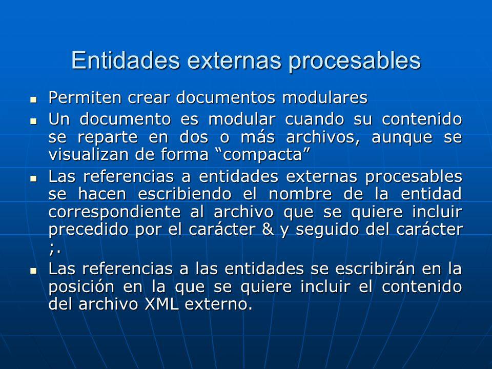 Entidades externas procesables Permiten crear documentos modulares Permiten crear documentos modulares Un documento es modular cuando su contenido se