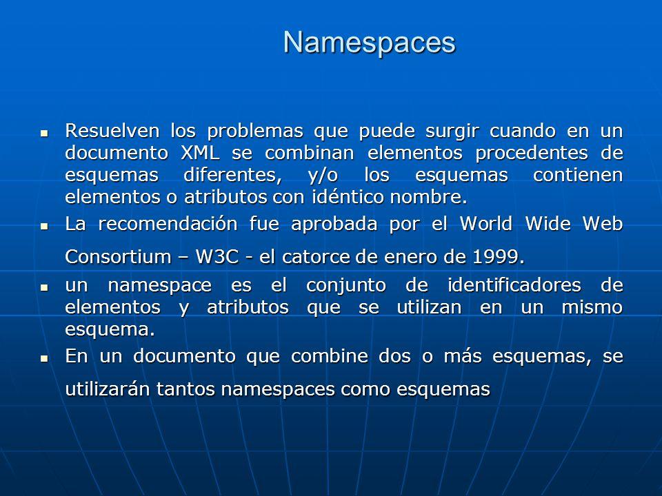 Namespaces Resuelven los problemas que puede surgir cuando en un documento XML se combinan elementos procedentes de esquemas diferentes, y/o los esquemas contienen elementos o atributos con idéntico nombre.