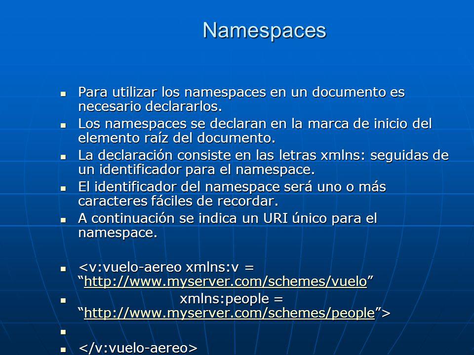 Namespaces Para utilizar los namespaces en un documento es necesario declararlos. Para utilizar los namespaces en un documento es necesario declararlo