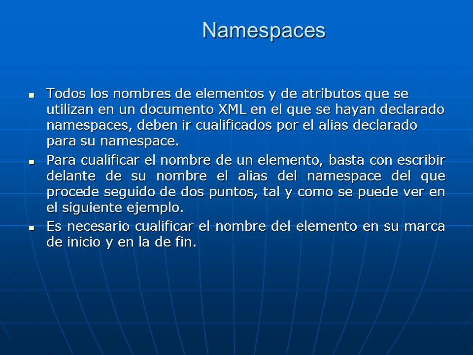 Namespaces Todos los nombres de elementos y de atributos que se utilizan en un documento XML en el que se hayan declarado namespaces, deben ir cualificados por el alias declarado para su namespace.