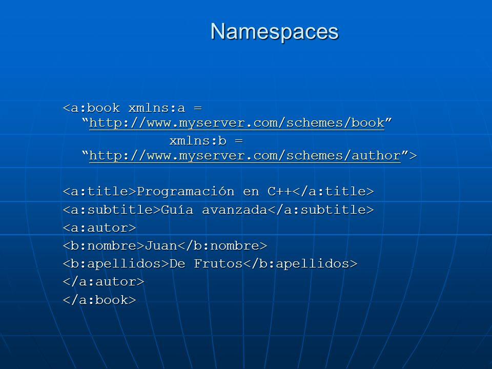 Namespaces <a:book xmlns:a =http://www.myserver.com/schemes/book http://www.myserver.com/schemes/book xmlns:b =http://www.myserver.com/schemes/author> xmlns:b =http://www.myserver.com/schemes/author>http://www.myserver.com/schemes/author Programación en C++ Programación en C++ Guía avanzada Guía avanzada <a:autor><b:nombre>Juan</b:nombre> De Frutos De Frutos </a:autor></a:book>