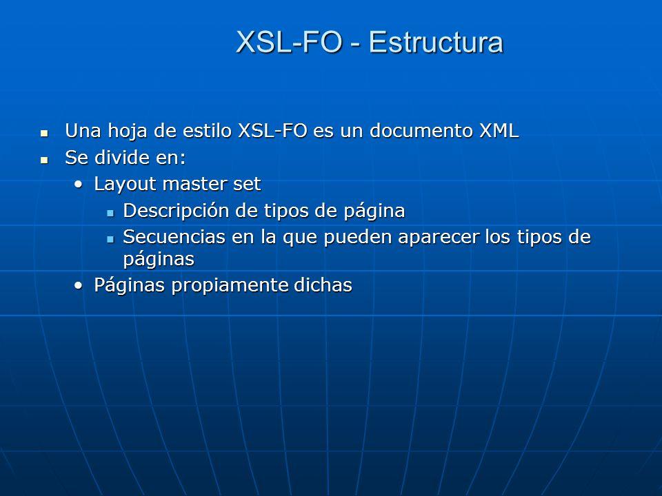 XSL-FO - Estructura Una hoja de estilo XSL-FO es un documento XML Una hoja de estilo XSL-FO es un documento XML Se divide en: Se divide en: Layout master setLayout master set Descripción de tipos de página Descripción de tipos de página Secuencias en la que pueden aparecer los tipos de páginas Secuencias en la que pueden aparecer los tipos de páginas Páginas propiamente dichasPáginas propiamente dichas