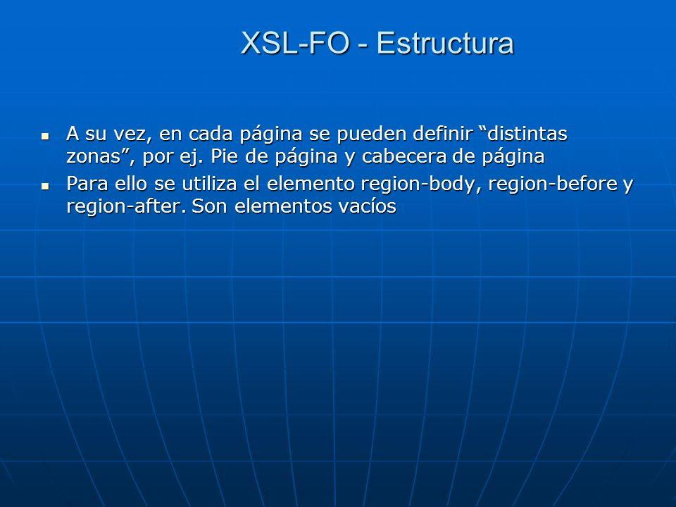 XSL-FO - Estructura A su vez, en cada página se pueden definir distintas zonas, por ej. Pie de página y cabecera de página A su vez, en cada página se
