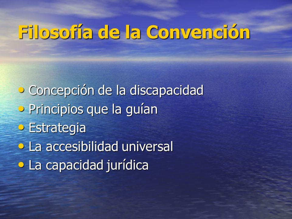 Filosofía de la Convención Concepción de la discapacidad Concepción de la discapacidad Principios que la guían Principios que la guían Estrategia Estr