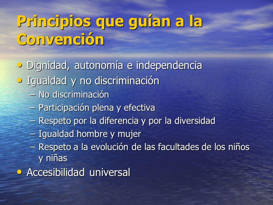 Principios que guían a la Convención Dignidad, autonomía e independencia Dignidad, autonomía e independencia Igualdad y no discriminación Igualdad y n