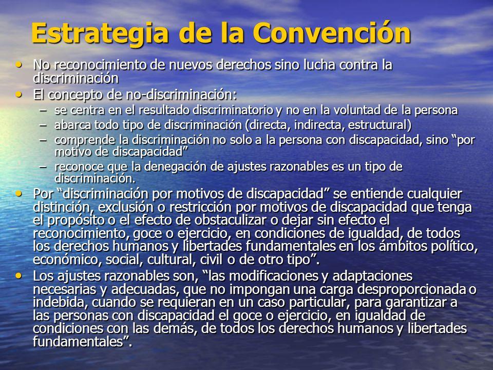 Estrategia de la Convención No reconocimiento de nuevos derechos sino lucha contra la discriminación No reconocimiento de nuevos derechos sino lucha c
