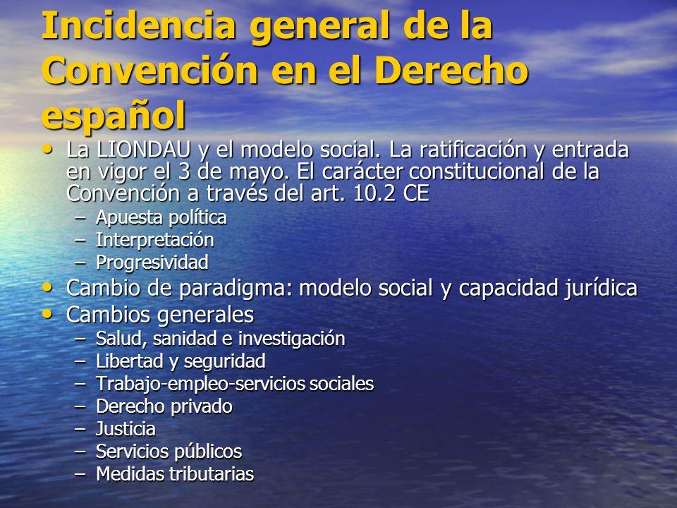 Incidencia general de la Convención en el Derecho español La LIONDAU y el modelo social. La ratificación y entrada en vigor el 3 de mayo. El carácter