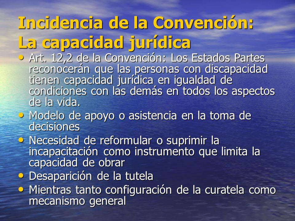 Incidencia de la Convención: La capacidad jurídica Art. 12,2 de la Convención: Los Estados Partes reconocerán que las personas con discapacidad tienen