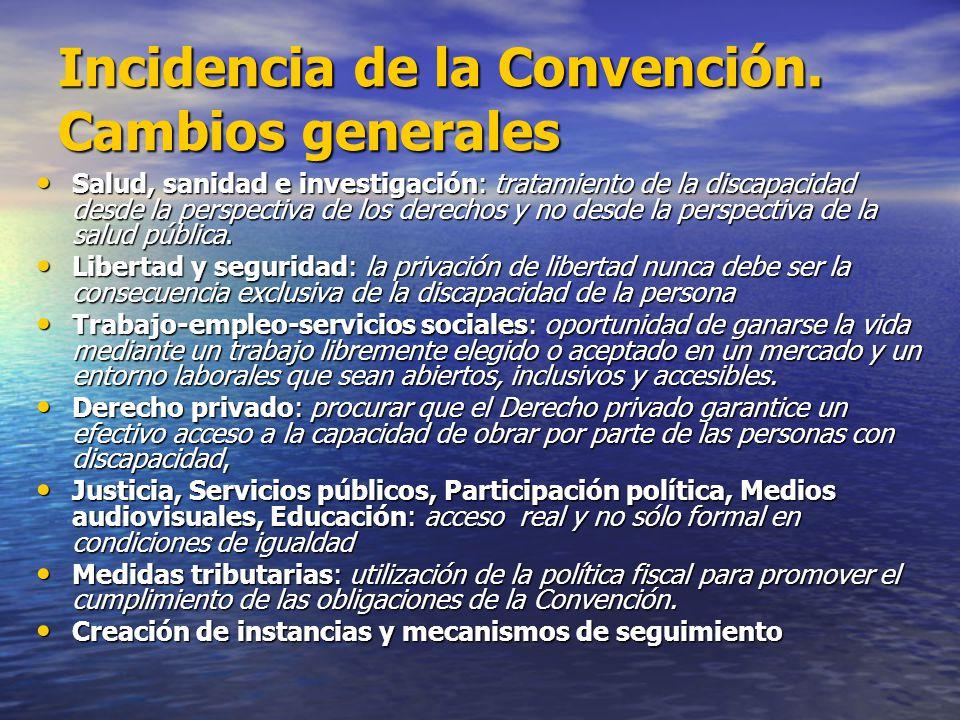 Incidencia de la Convención. Cambios generales Salud, sanidad e investigación: tratamiento de la discapacidad desde la perspectiva de los derechos y n