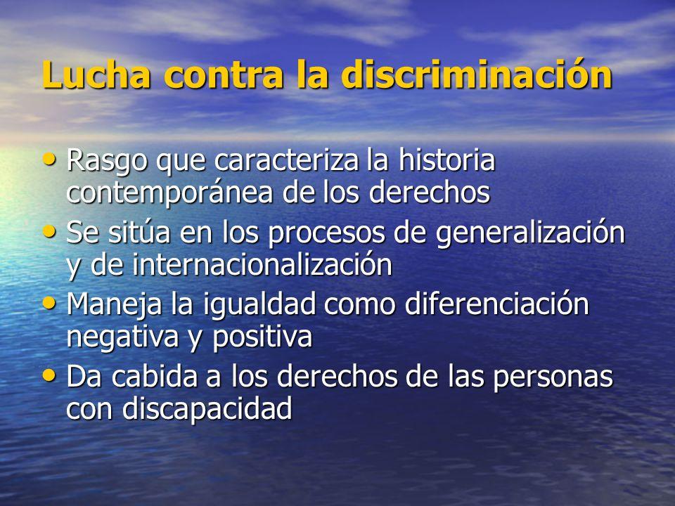 Estrategia de la Convención No reconocimiento de nuevos derechos sino lucha contra la discriminación No reconocimiento de nuevos derechos sino lucha contra la discriminación El concepto de no-discriminación: El concepto de no-discriminación: –se centra en el resultado discriminatorio y no en la voluntad de la persona –abarca todo tipo de discriminación (directa, indirecta, estructural) –comprende la discriminación no solo a la persona con discapacidad, sino por motivo de discapacidad –reconoce que la denegación de ajustes razonables es un tipo de discriminación.
