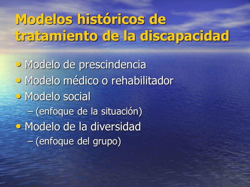 Modelos históricos de tratamiento de la discapacidad Modelo de prescindencia Modelo de prescindencia Modelo médico o rehabilitador Modelo médico o reh