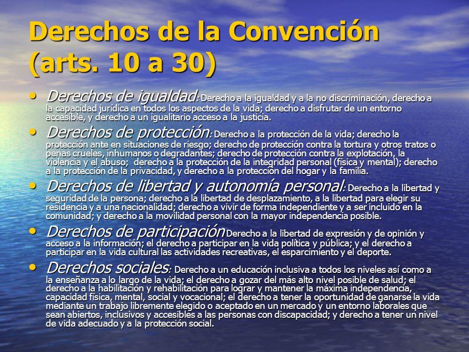 Derechos de la Convención (arts. 10 a 30) Derechos de igualdad : Derecho a la igualdad y a la no discriminación, derecho a la capacidad jurídica en to