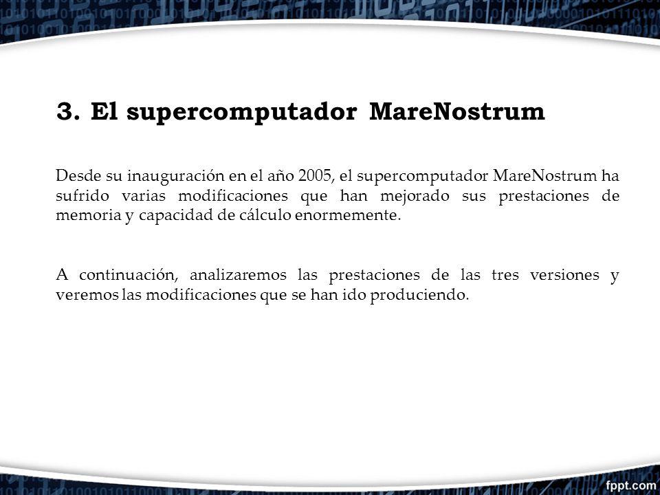 3. El supercomputador MareNostrum Desde su inauguración en el año 2005, el supercomputador MareNostrum ha sufrido varias modificaciones que han mejora