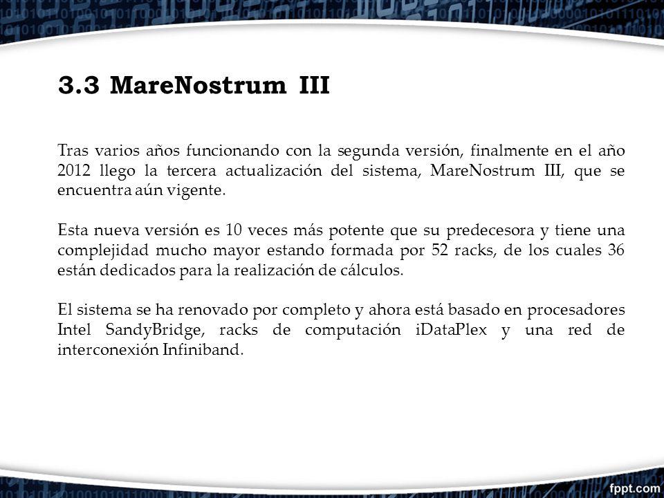 3.3 MareNostrum III Tras varios años funcionando con la segunda versión, finalmente en el año 2012 llego la tercera actualización del sistema, MareNos