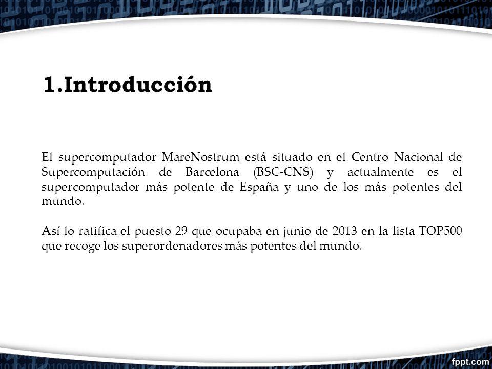 1.Introducción El supercomputador MareNostrum está situado en el Centro Nacional de Supercomputación de Barcelona (BSC-CNS) y actualmente es el superc
