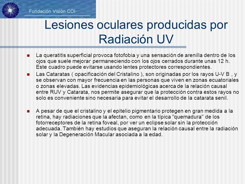 Lesiones oculares producidas por Radiación UV La queratitis superficial provoca fotofobia y una sensación de arenilla dentro de los ojos que suele mej
