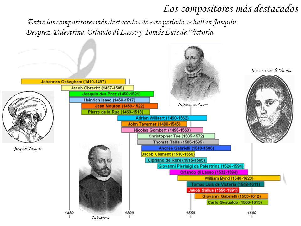 Entre los compositores más destacados de este periodo se hallan Josquin Desprez, Palestrina, Orlando di Lasso y Tomás Luis de Victoria. Los compositor